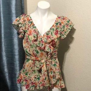 DVF floral Metallic wrap blouse